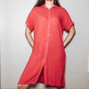 Forever 21 Button Down Dress Red Size M